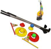 Set na dětský golf v síťce hůlky s míčky a doplňky
