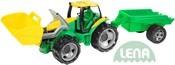 Traktor plastový zelený set se lžící a přívěsem 110cm v krabici