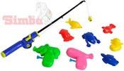 Rybičky 6ks magnetické set s prutem a 2 pistolkami na kartě plast 3 barvy