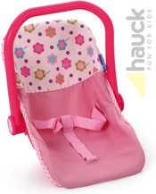 Růžová dětská autosedačka pro panenky do 43cm