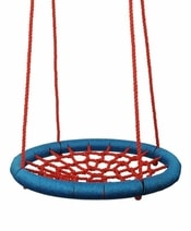 Houpačka síťovaná Kruh 100cm houpací červeno-modrý na zahradu