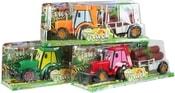 Traktor 22cm set s valníkem a kládami 3ks 3 barvy plast v krabici