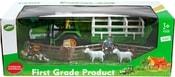 Traktor 11cm s vlekem set se zvířátky a doplňky plast v krabici