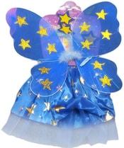 Kostým pro děti Šaty modré princezna s křídly hvězdičky