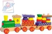 Vlak navlékací set mašinka + 2 vagonky Světlo Zvuk