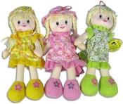 Panenka hadrová holčička s copánky 30cm 3 barvy