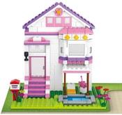 SLUBAN Stavebnice GIRLS dům s bazénem set 291 dílků + 4 figurky plast