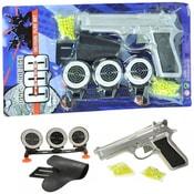 Pistole Na kuličky 21 cm Kuličkovka Set s náboji terči a opaskem PLAST