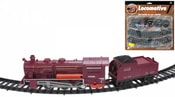 Vlak na baterie set lokomotiva s vagónem a kolejemi 2 barvy na kartě Světlo Zvuk