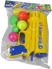 Plastová dětská pistole set s míčky a kuželkami v sáčku