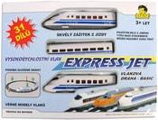 Vlak Express Jet Basic set 31částí s příslušenstvím se světlem 3 druhy