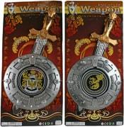 Rytířská sada zdobený meč 46cm + štít 22cm na kartě 2 druhy plast