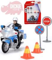 Motocykl policie 10cm set řidič + 2 dopravní značky na kartě