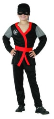 Karnevalový kostým Ninja černé vel. M (120-130cm) 5-9 let
