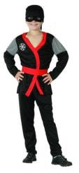 Karnevalový kostým Ninja černé vel. L (130-140cm) 8-10 let
