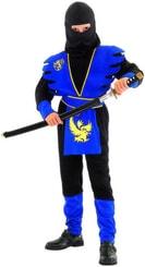 Karnevalový kostým Ninja černomodré vel. M (120-130cm) 5-9 let