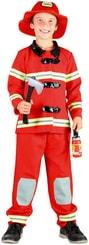 Kostým pro děti Oblek červený požárník vel.S (110-120 cm) 4-6 let