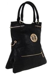 Moderní kabelka do ruky se zlatými doplňky C005 černá c6790039913