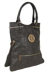 Moderní kabelka do ruky se zlatými doplňky C005 tmavě šedá