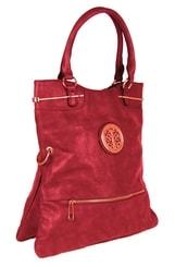 Moderní kabelka do ruky se zlatými doplňky C005 červená