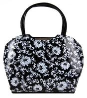 Černá kabelka s bílými květy S467