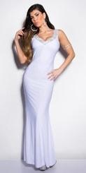 Bílé plesové šaty in-sat1032wh