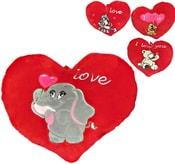 PLYŠ Srdíčko Valentýn 14cm se zvířátkem I love you 4 druhy