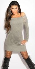 Pletené šaty - šedé in-sat1026gr