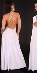 Bílé dlouhé šaty in-sat1179wh