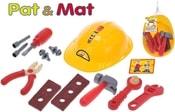Sada dětské nářadí plastové Pat a Mat set s přilbou 24x18cm v síťce