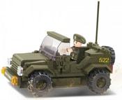 SLUBAN Stavebnice ARMY vojenský hlídkový vůz set 15 dílků + 1 figurka plast