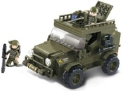 SLUBAN Stavebnice ARMY jeep vojenský set 217 dílků + 2 figurky plast