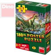 Puzzle XL 180 dílků Dinosauři plakát set s lepidlem 47x66cm