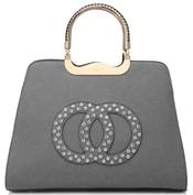 Módní šedá kabelka s ozdobnými kruhy K2628