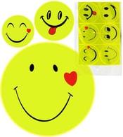 Samolepka žlutá reflexní Smajlík 7cm pro školáky (smail) set 6ks různé druhy v s