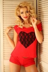 Krátké dámské pyžamo Rome červené
