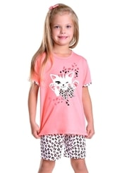 Dětské pyžamo s obrázkem kočky a kraťasy