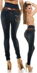 Úzké dámské džíny s páskem in-ri1032