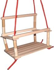 Houpačka dřevěná závěsná pro děti s ohrádkou