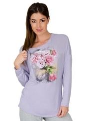 Dámské tričko dlouhý rukáv s obrázkem růží