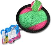 Catch ball set s 2 talíře s míčkem na suchý zip v síťce