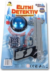 Set plastový policejní s pistolí a majáčkem na baterie elitní detektiv