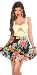 Květované letní šaty-žluté in-sat1126le