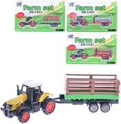 Traktor kov/plast 16cm farmářský set s vlečkou 4 druhy