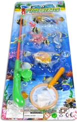 Hra rybičky 4ks set se síťkou a prutem na kartě dětský rybolov plastový