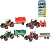 Traktor kovový 14cm s vlečkou 1:72 4 druhy