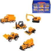 Vozidlo stavební auto oranžové 7cm kovové volný chod