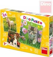 Puzzle 3v1 Zvířátka 18x18cm 3x55 dílků v krabici