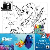 Omalovánky puzzle s voskovkami Hledá se Dory
