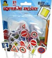 Značky dopravní plastové značení set 21ks na kartě